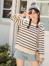 荷葉挑花設計條紋粗針織毛衣