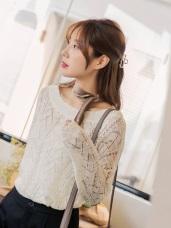 造型鏤空挑洞設計純色细針織毛衣
