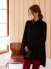 高含棉優雅素面高領針織毛衣