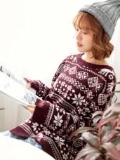 聖誕麋鹿幾何造型針織毛衣