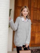 優雅小蕾絲袖勾花線毛衣