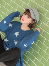 俏麗感星星織紋針織毛衣