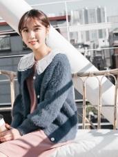 兔毛手感珍珠排釦包芯紗針織外套
