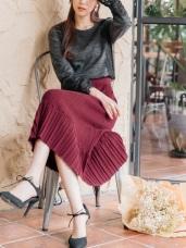 純色百褶設計包芯紗細針織中長包裙