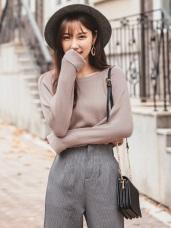 袖口反褶純色包芯紗針織上衣