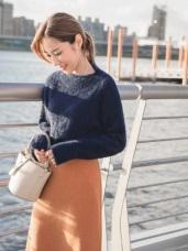 馬海毛手感純色長版粗針織毛衣