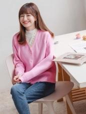 蕾絲滾邊純色排釦細針織外套