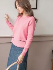 柔軟包芯紗坑條口袋針織毛衣