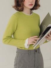 純色包芯紗拼接雪紡假兩件針織毛衣