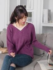 假兩件挖肩背心拼接包芯紗細針織毛衣/上衣