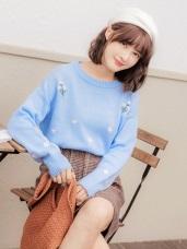 清新小花刺繡針織毛衣