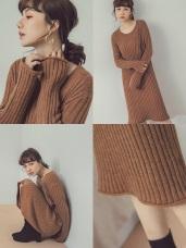 純色粗坑條針織洋裝