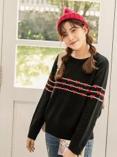 愛心緹花設計細針織毛衣上衣