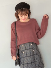 鏤空圓圈造型針織毛衣