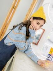 配色條紋寬鬆針織毛衣