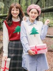 聖誕樹印花细針織毛衣背心/上衣