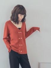 純色V領針織上衣/外套