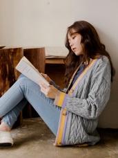 羅紋編織配色坑條針織外套