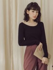 純色羅紋包芯紗合身針織上衣