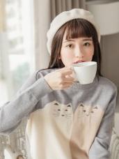 可愛貓咪配色緹花包芯紗細針織毛衣/上衣