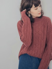 變化織紋滿版鏤空針織毛衣