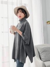 高領細針織純色寬版斗篷毛衣