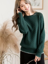 勾織造型設計立體織紋毛衣