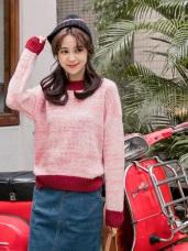 柔軟小開衩設計粗針織混色毛衣