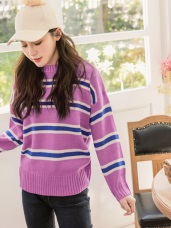 馬卡龍條紋配色細針織毛衣上衣
