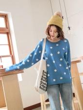 包芯紗柔軟點點印花針織毛衣