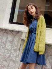 寬版麻花粗針織大包釦毛衣外套