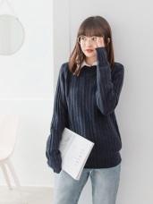 純色立體坑條小高領細針織毛衣