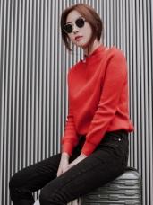 純色交叉繞頸設計包芯紗細針織毛衣