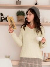 純色V領前短後長針織長袖毛衣