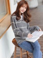襯衫領拼接假兩件寬條紋長袖粗針織毛衣