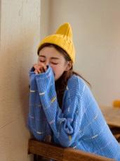 純色馬卡龍彩色條紋點綴針織長袖毛衣