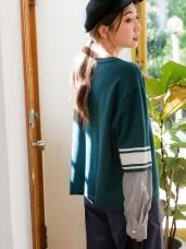 假兩件拼接條紋寬鬆長袖針織毛衣