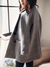 灰白系格紋厚磅保暖混羊毛大衣
