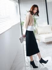 視覺顯瘦小開岔純色針織窄裙