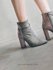 鍊條拼接設計粗高跟短靴