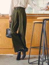 高挑顯瘦 ‧ 琥珀扣腰帶休閒寬褲