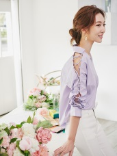 【婚禮穿搭】鏤空交叉設計長袖純色襯衫