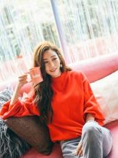 小高領蓬袖純色針織暖暖毛衣