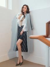顯瘦視覺感配色斜紋窄裙