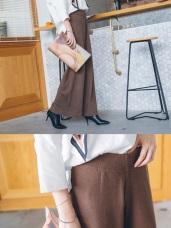 時髦純色厚磅針織落地寬褲