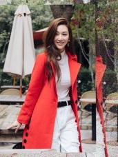 修身剪裁保暖純色毛料長大衣