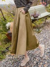 扣環腰帶設計顯瘦純色長裙