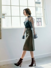 修身顯瘦純色皮質窄裙