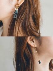 藍綠織帶不對稱垂墜耳環