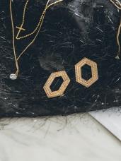 Vintage歐風六角形耳環